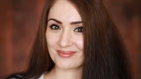 _ kokieteria Zakończenie portret piękna młoda brunetki kobieta zbiory