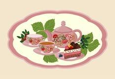 Kokkärl, kopp med te, kaka och bär stock illustrationer