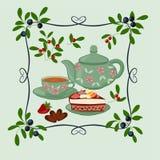 Kokkärl, kopp med te, kaka och bär vektor illustrationer