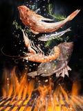Kokkärlgaller med brandflammor, gjutjärnspisgallret och smakliga havsfiskar som flyger i luften arkivfoton