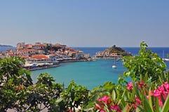 Kokkari海滩萨莫斯岛,希腊 免版税库存照片