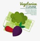 Kokkonst för broccoli för chilipeppar ny naturlig vegetarisk royaltyfri illustrationer