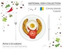 Kokkonst för kanariefågelöar Europeisk nationell maträttsamling Tomat royaltyfri illustrationer