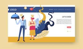 Kokkonst för matlagninggrupper och kulinarisk online-kurswebbsidamall stock illustrationer