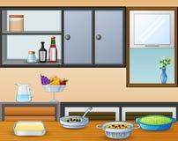 Kokkonst på den äta middag tabellen i köket stock illustrationer