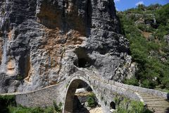 Kokkori stone bridge Zagoria Greece Royalty Free Stock Image