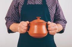Kokmens met grote pot Royalty-vrije Stock Foto