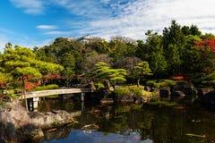 Koko-en autumn Garden with Himeji castle. Koko-en autumn Garden colors with Himeji castle in Hyogo Prefecture, Japan Stock Image