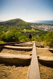 Koko Head Crater and hikers Royalty Free Stock Images