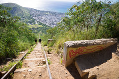 Koko Head Crater and hikers Stock Images