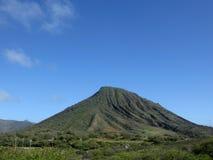 Koko Head Mountain med trappaslingan upp den synliga sidan Arkivfoton