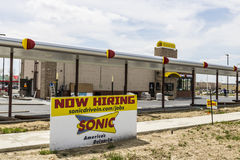 Kokomo - Circa April 2017: Sonic Drive-In Fast Food Location Under Construction. Sonic is a Drive-In Restaurant Chain V. Sonic Drive-In Fast Food Location Under Stock Photo