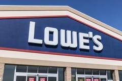 Kokomo - Circa August 2017: Lowe`s Home Improvement Warehouse. Lowes operates retail home improvement and appliance stores IX. Lowe`s Home Improvement Warehouse royalty free stock photos
