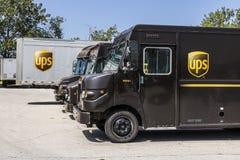 Kokomo - Circa Augusti 2017: United Parcel Service leveranslastbil UPS är världs`en s Stor Packe Leverans Företag VI Arkivbilder