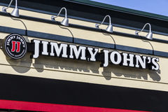 Kokomo - Circa February 2017: Jimmy John`s Gourmet Sandwich Restaurant. Jimmy John`s is known for their fast delivery III Stock Images