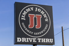 Kokomo - Circa February 2017: Jimmy John`s Gourmet Sandwich Restaurant. Jimmy John`s is known for their fast delivery V Stock Photo