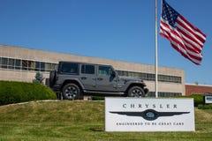 Jeep Wrangler on display at a Chrysler plant. The subsidiaries of FCA are Chrysler, Dodge, Jeep, and Ram VI. Kokomo - Circa July 2019: Jeep Wrangler on display royalty free stock photos