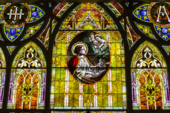 Kokomo - Circa November 2016: Church Stained Glass Portraying Cherubs and Saint Cecilia, the Patron Saint of Musicians II Royalty Free Stock Images