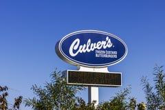 Kokomo - Circa November 2016: Snabbt tillfälligt läge för Culver ` s Culver ` s är berömd för deras Butterburgers och djupfrysta  royaltyfri bild