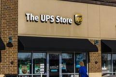 Kokomo - Około Listopad 2016: UPS sklepu lokacja UPS jest Światowym ` s Wielki Pakujący Dostawa Firma III Zdjęcie Royalty Free