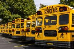 Kokomo - vers en octobre 2016 : Autobus scolaires jaunes dans un sort de secteur attendant pour partir pour des étudiants VI Photographie stock