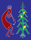 Kokopelli. This is an iconic vector illustration of Kokopelli. Kokopelli is a fertility deity, usually depicted as a humpbacked flute player. Kokopelli presides Royalty Free Stock Image