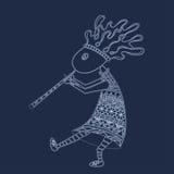 Kokopelli com flauta - esboce o logotipo do vetor do estilo ou ilustração royalty free