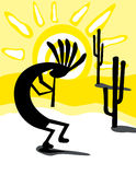 Kokopelli in the Desert. Is hand drawn original artwork.  The vector file is in AI-EPS8 format.  Kokopelli is a fertility deity. Kokopelli presides over both Royalty Free Stock Photography