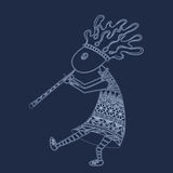 Kokopelli with flute - sketch style vector logo or. Vector retro sketch of lines the American fertility deity with a flute - Kokopelli Royalty Free Stock Photography