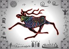 Kokopelli Glow Elk. By petroglyph styled old sticker stock illustration
