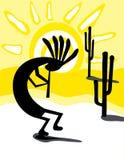 Kokopelli no deserto ilustração stock