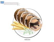 Kokoretsi asado a la parrilla, el plato popular de Grecia stock de ilustración