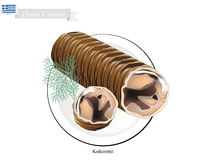 Kokoretsi asado a la parrilla, el plato popular de Grecia ilustración del vector