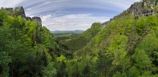 Pravcicky valley, Bohemian Switzerland, Czech Repu. Panoramic view at Pravcicky valley at Bohemian Switzerland national park, Czech Republic stock photography