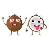 Kokosnöt Gulliga par för fruktvektortecken som isoleras på vit bakgrund Roliga emoticonsframsidor illustration Royaltyfria Foton
