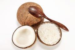 Kokosnöt med skeden Royaltyfria Foton