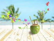 Kokosnöt på tabellen Fotografering för Bildbyråer