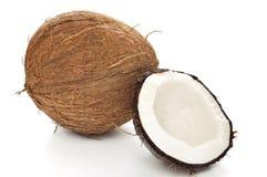 Kokosnöt på vit Royaltyfria Bilder