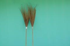 Kokosnötbladkvast på grön bakgrund royaltyfria foton