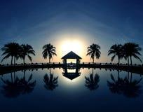 Kokosnöten gömma i handflatan på sandstranden Royaltyfria Foton