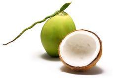 Kokosnöten med kokosnöten mjölkar arkivbilder