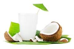 Kokosnöten mjölkar på vit Fotografering för Bildbyråer