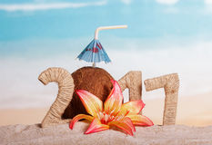 Kokosnöten numrerar i stället 0 i belopp 2 017 mot havet Arkivfoton