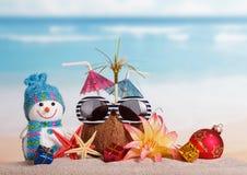 Kokosnöten, solglasögon, snögubben, sjöstjärnan, bollen och gåvor blommar mot havet Arkivfoto