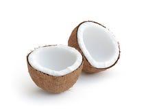 Kokosnöten två skivor av kokosnöt, framför 3d vektor illustrationer