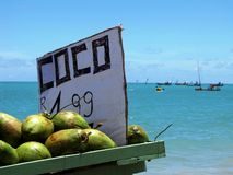 Kokosnötförsäljningsställning på de härliga stränderna av Maceio, Brasilien Arkivfoton