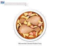 Kokosnöthönacurry, den populära maträtten av Mikronesien stock illustrationer
