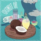 Kokosnötolja som används för håromsorg Royaltyfria Foton