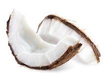 Kokosnötstycken som isoleras på en vit bakgrund Fotografering för Bildbyråer