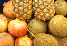 Kokosnüsse, Ananas und Granatäpfel Stockfotografie